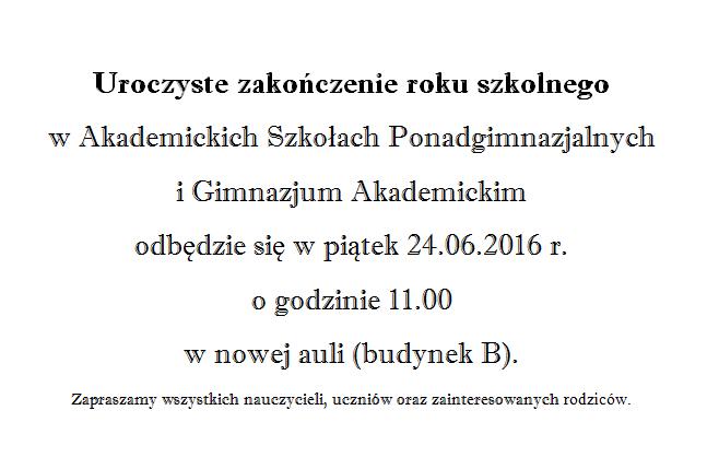 Zakończenie r. szk. 2015/2016